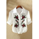 Hot Fashion Floral Embroidered Short Sleeves Lapel Button Bow Tie-Front Cropped Shirt