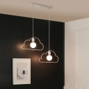 Industrial 2 Light Multi Light Pendant with Cloud Shape Metal Frame in White Finish