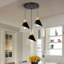 Industrial 3 Light Multi Light Pendant with Metal Cage in Black/White Finish