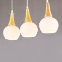 Industrial 19''W Multi Light Pendant with Globe Glass Shade, 3 Light