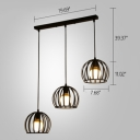 Industrial 3 Light Multi Light Pendant with Globe Metal Cage Frame in Black Finish