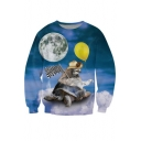 Chic 3D Sky Cartoon Print Round Neck Long Sleeve Pullover Sweatshirt