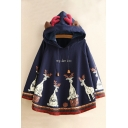 New Trendy Letter Cartoon Deer Print Drawstring Hood Cape
