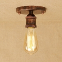 Industrial Simple Flushmount Ceiling Light in Open Bulb Style, Chrome/Rust/Brass