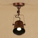 Industrial 5.3''W Semi-Flush Ceiling Light Soptlight with Metal Shade in Grey/Antique Silver/Rust