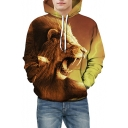 Cool Lion Print Drawstring Hood Pocket Hoodie for Couple