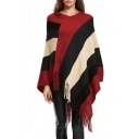 Fashionable Striped Print V-Neck Sweater Cape with Tassel Hem