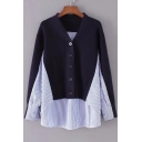 Stylish Color Block Striped Patchwork Button Detail Pullover Sweater
