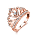 Stylish Crown Shaped Diamond Gem Studded Medium Band Ring