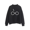 Stylish Lightning Scar Eyeglasses Glasses Printed High Neck Long Sleeves Sweatshirt