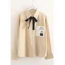 Cartoon Figure Japanese Print Pocket Bow Front Long Sleeve Lapel Shirt
