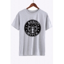 Trendy Cartoon Letter Star Print Round Neck Short Sleeve Graphic Tee