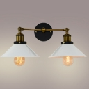 Industrial 19''W Multi Light Wall Sconce with 2 Light and Cone Metal Shade in Brass