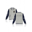 Trendy Letter Color Block Print Single Breasted Stand-Up Collar Baseball Jacket