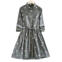 Cartoon Pattern Lapel Collar Buttons Down Drawstring Waist Long Sleeve Midi Dress