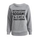 Leisure Letter Bat Print Raglan Sleeve Round Neck Pullover Sweatshirt