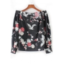 Chic Crane Floral Print Off Shoulder Long Sleeve Blouse