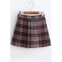 Stylish Tartan Plaids Pattern Mid-Waist Pleated Mini A-line Skirt