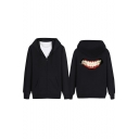 Chic Teeth Print Long Sleeve Zipper Hoodie for Couple