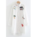 Leisure House Bread Cartoon Embroidered Striped Point Collar Long Sleeves Button Down Tunic Shirt