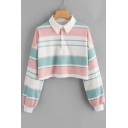 Cute Stripe Pattern Lapel Long Sleeves Cropped Spring Autumn Tee Top with Buttons