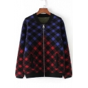 Classic Plaid Color Block Letter Print Long Sleeve Zipper Stand-Up Cardigan