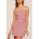 Hot Fashion Tie Shoulder Classic Striped Print Slip Dress