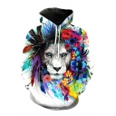 Trendy Floral Lion Printed Long Sleeves Pullover Loose Unisex Hoodie