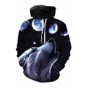 Fashionable Wolf Moon Galaxy Printed Long Sleeves Pullover Hoodie with Pocket
