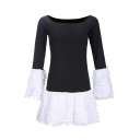 Stylish Patchwork Color Block Boat Neck Ruffle Layered Hem Slim-Fit Mini Dress