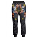 Fashionable 3D Floral Print Drawstring Waistband Leisure Pants