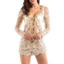 Sexy V-Neck Mesh Patchwork Lace Panel Cutout Slim-Fit Shorts Women's Co-ords