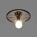Industrial 12''W Semi-Flush Ceiling Light with Wheel in Open Bulb Style, Rust