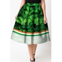 Trendy Color Block Elastic Waist Clover Printed Flared Midi Skirt