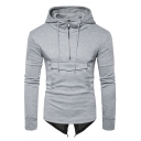 Simple Plain Zipper Detail Flap Pocket Tuxedo Back Slim-Fit Men's Hoodie