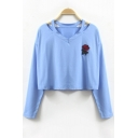 Trendy Floral Embroidery V-Neck Long Sleeves Casual Cropped Tee