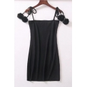 Women's Spaghetti Straps Pompom Embellished Ribbed Plain Mini Cami Dress