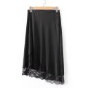 Elegant Plain Zipper Side Lace Insert High Low Hem Midi Skirt