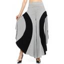 Pop Fashion Color Block High Waist High Low Hem Wide Leg Casual Pants