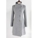 Simple Plain Single Breasted Stand-Up Collar Long Sleeve Tie Waist Tunic Coat