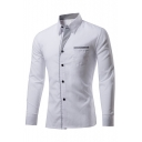 Fashion Color Block Striped Print Lapel Long Sleeve Single Breasted Shirt