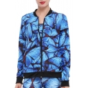 Spring Fashion Butterfly Pattern Contrast Trim Zippered Jacket with Pockets