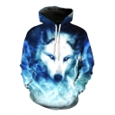 Cool Wolf Pattern Long Sleeves Pullover Hoodie with Pocket