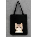 Cute Cartoon Cat Printed Simple Canvas Bag