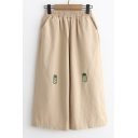 Chic Embroidered Pineapple Pattern Elastic Waist Cropped Wide Leg Pants