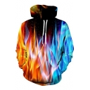 Fine Design Flame Fire Pattern Long Sleeves Pullover Unisex Leisure Hoodie