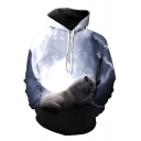 Stylish Wolf Moon Night Printed Long Sleeves Pullover Unisex Hoodie
