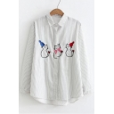 Old-School Fashion Striped Cat Applique Point Collar Long Sleeves Button Down Shirt