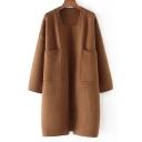Elegant Plain Double Pockets Open Front Long Sleeves Stylish Longline Cardigan