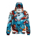 Digital Wolf Print Zipper Drawstring Hood Long Sleeve Hoodie